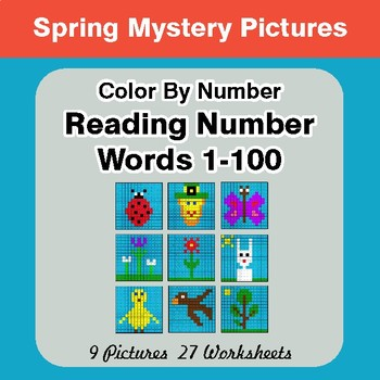 Reading Number Words 1-100 - Color By Number - Spring Mystery Pictures