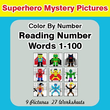 Reading Number Words 1-100 - Color By Number - Superhero Mystery Pictures