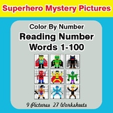 Reading Number Words 1-100 - Color By Number - Superhero M
