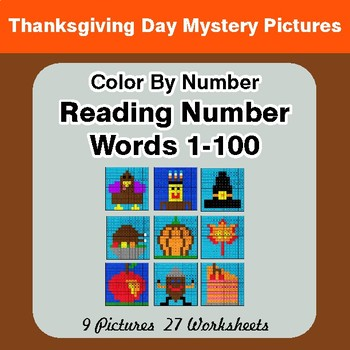 Reading Number Words 1-100 - Color By Number - Thanksgiving Day Mystery Pictures