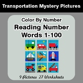 Reading Number Words 1-100 - Color By Number - Transportat