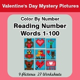 Reading Number Words 1-100 - Color By Number - Valentine's