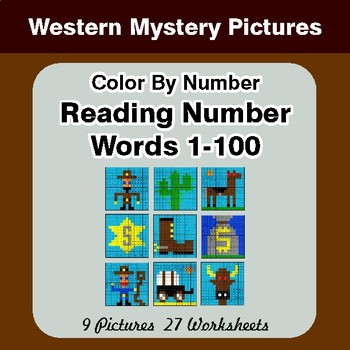 Reading Number Words 1-100 - Color By Number - Western Mystery Pictures