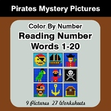 Reading Number Words 1-20 - Color By Number - Pirates Mystery Pictures