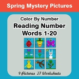 Reading Number Words 1-20 - Color By Number - Spring Myste