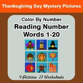 Reading Number Words 1-20 - Color By Number - Thanksgiving