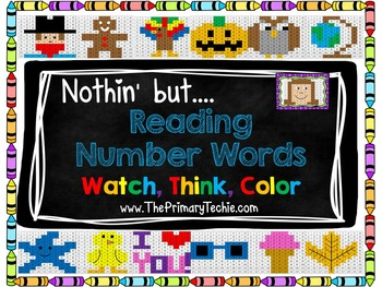 Reading Number Words - Watch, Think, Color Mystery Pictures