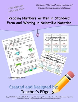 Reading Numbers written in Standard Form and Writing in Scientific Notation