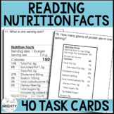 Reading Nutrition Facts Task Cards / 28 total / Life Skills