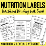 Reading Nutrition Labels Task Cards