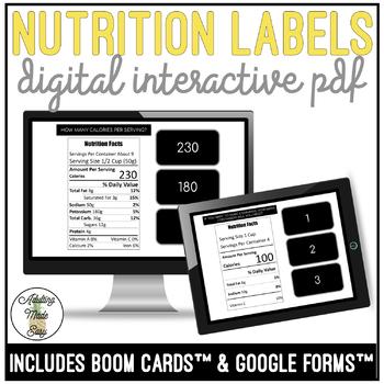 Reading Nutrition Labels Digital Activity