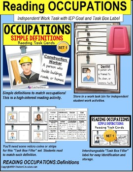 """Reading OCCUPATIONS TASK CARDS """"Task Box Filler"""" Autism and Special Education"""