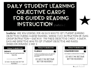 Reading Objective Cards