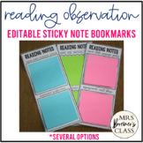 Reading Observation Sticky Note Bookmarks for Teachers EDITABLE