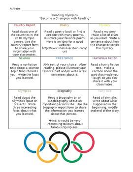 Reading Olympics Challenge Board