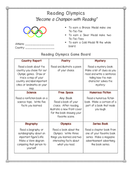 Reading Olympics: Choice Board, Country Report Sheet, and Activities