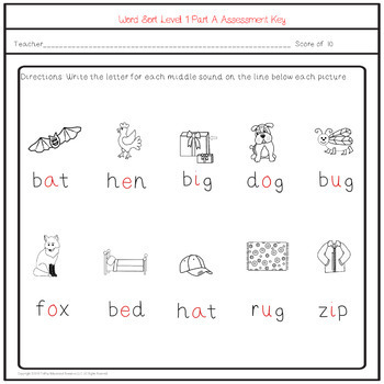 Reading On Word Sort Level 1 Part A