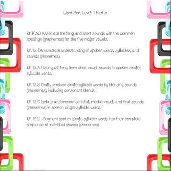 Reading On Word Sort Level 1 Part C