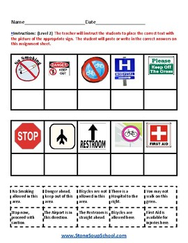 K - 2 Reading: Outdoor Signs - for Students with Autism