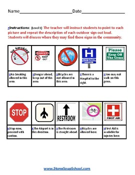 K - 2 Outdoor Signs - for Students w/ Psychiatric or Medical Disabilities