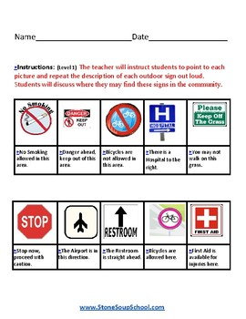 K - 2 Reading: Outdoor Signs -for Students with Speech and Language Disabilities