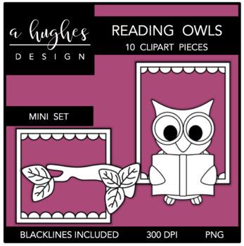 Reading Owls Mini Clipart Bundle {A Hughes Design}