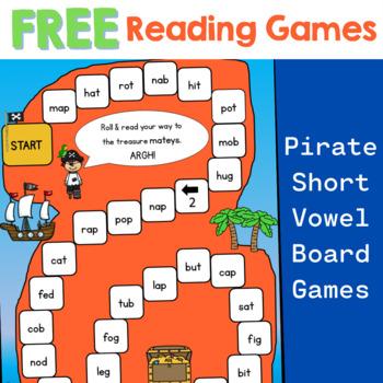 Reading-PIRATE Short Vowel Board Game Freebie (blends phonics)