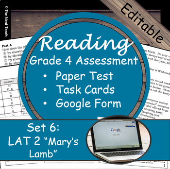 Reading Part A Part B Test, Task Cards LAT 2- Literary & Poetry