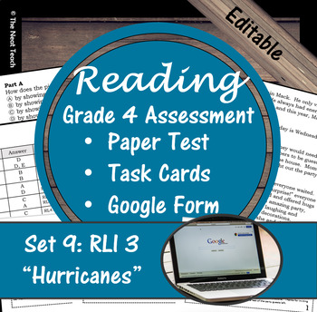 Reading Part A Part B Test, Task Cards RLI 3- Literary & Informational