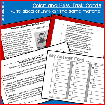 Reading Part A Part B Test, Task Cards RLI 4- Literary & Informational