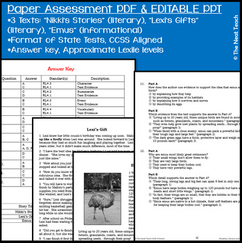 Reading Part A Part B Test, Task Cards RLI 5- Literary & Informational