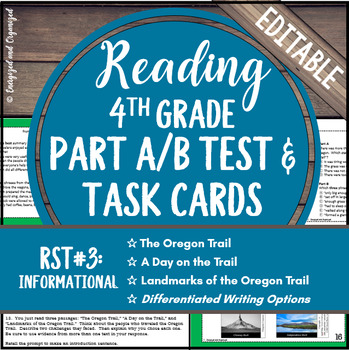 Reading Part A Part B Test, Task Cards RST 3- Nonfiction