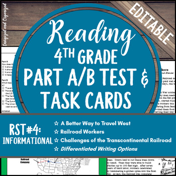 Reading Part A Part B Test, Task Cards RST 4- Nonfiction