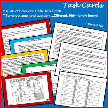 Reading Part A Part B Tests and Task Cards- BUNDLE 2