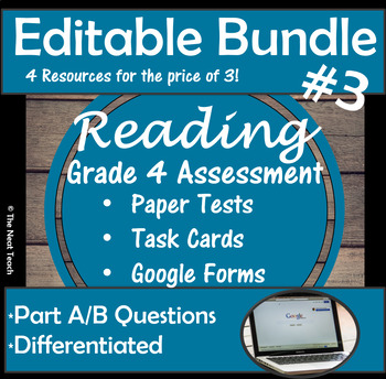 Reading Part A Part B Tests and Task Cards- BUNDLE 3