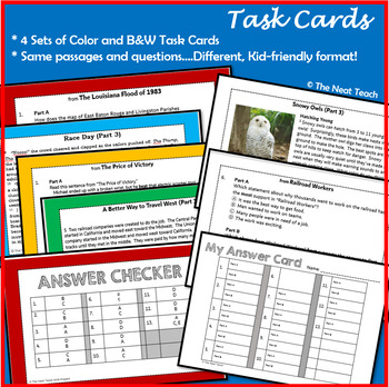 Reading Part A Part B Tests and Task Cards- BUNDLE 4