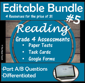 Reading Part A Part B Tests and Task Cards- BUNDLE 5