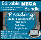 Reading Part A Part B Tests and Task Cards- MEGA BUNDLE (Includes 5 Bundles)