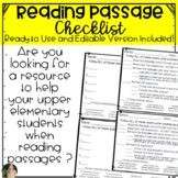 Reading Passage Checklists with EDITABLE