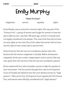 Reading Passage - Emily Murphy