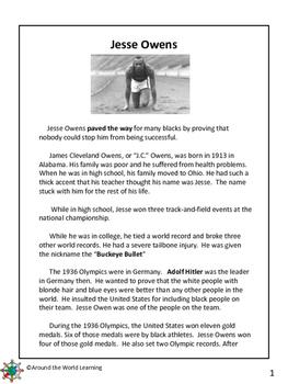 Reading Passage: Jesse Owens