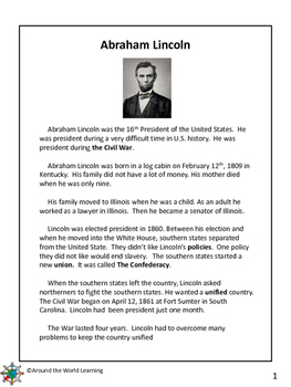 Reading Passage: Lincoln and the Civil War