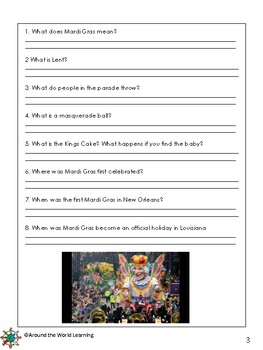 Reading Passage: Mardi Gras - Grades 3 & 4