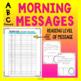 Morning Messages Leveled Kindergarten 1st Grade ABC theme