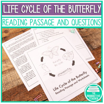 Life cycle of a butterfly worksheet teaching resources teachers reading comprehension passage and questions the life cycle of the butterfly fandeluxe Images