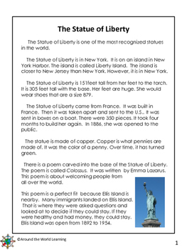 Reading Passage: Statue of Liberty by Around the World ...