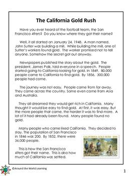 Reading Passage: The California Gold Rush