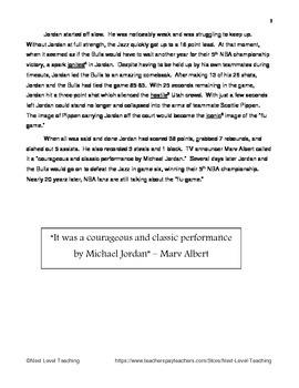 "Reading Passage about Michael Jordan's ""Flu Game"" (Grades 6-8)"