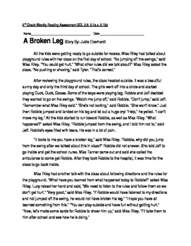 Reading Comprehension Passage and Questions: A Broken Leg