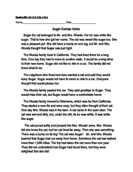 Reading Comprehension Passage and Questions: Sugar Comes Home
